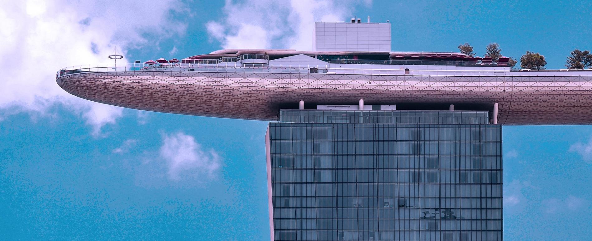 A terrace atop a hotel building