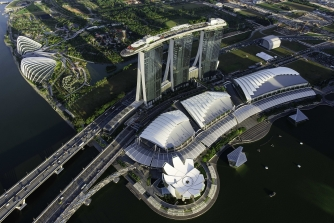 Aerial view of the Marina Bay Sands Singapore
